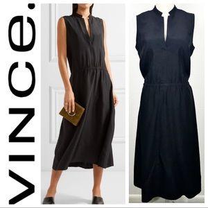 VINCE Ruched Sleeveless Black SILK Midi DRESS